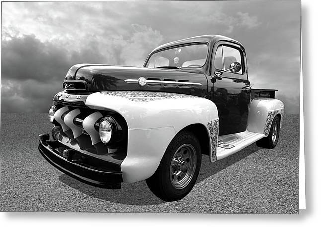 1952 Ford F-1 In Black And White Greeting Card by Gill Billington