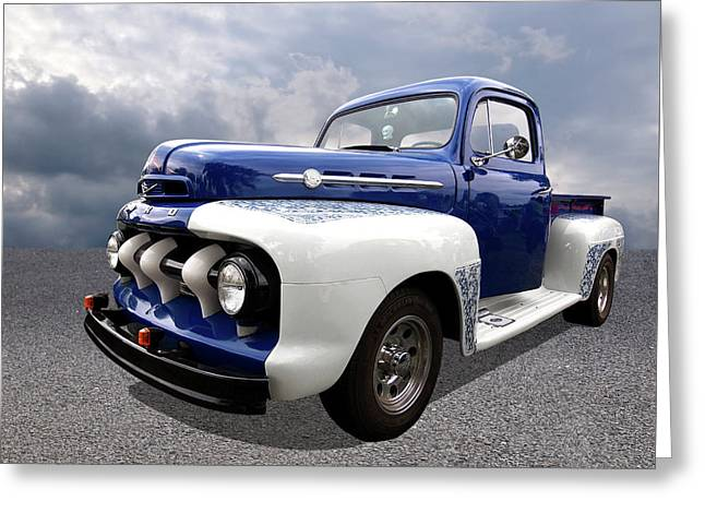 1952 Ford F-1 In Blue And White Greeting Card by Gill Billington