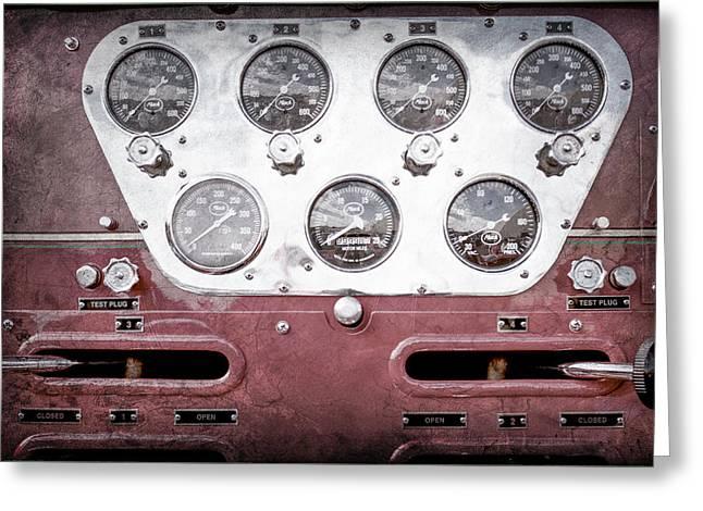 1952 L Model Mack Pumper Fire Truck Gauges -0018ac Greeting Card by Jill Reger