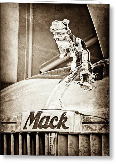 1952 L Model Mack Pumper Fire Truck Hood Ornament -0179s Greeting Card by Jill Reger