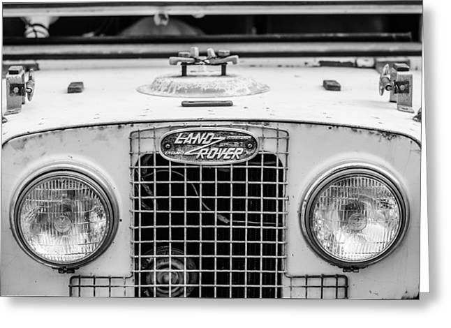 1952 Land Rover 80 Grille -0988bw Greeting Card by Jill Reger