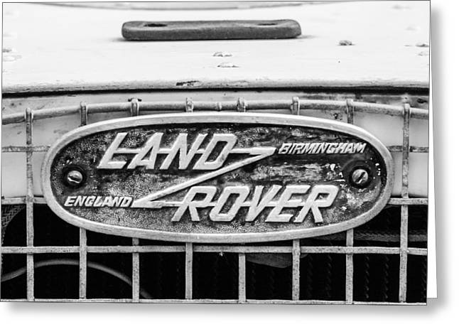 1952 Land Rover 80 Grille Emblem -0988bw2 Greeting Card by Jill Reger