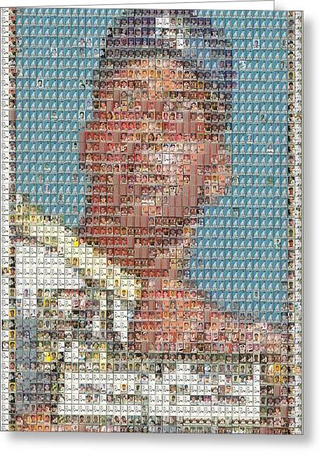 Greeting Card featuring the mixed media 1952 Topps Mickey Mantle Rookie Card Mosaic by Paul Van Scott