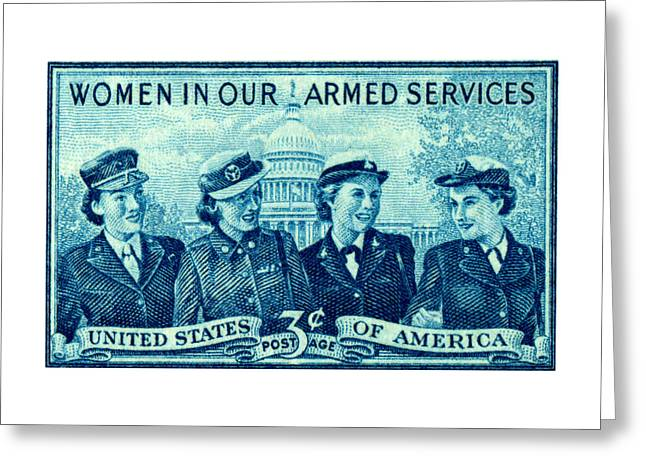 1952 Women In Military Service Stamp Greeting Card by Historic Image
