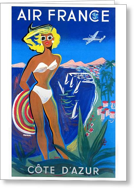 1953 Air France French Riviera Travel Poster Greeting Card