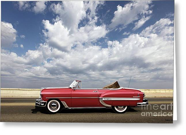 1953 Chevy Bel Air Convertible, Mixed Media, Louis Vuitton Steamer Trunk  Greeting Card
