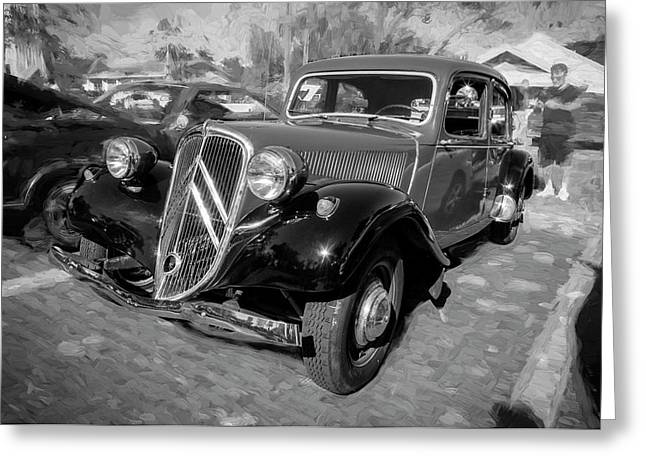 1953 Citroen Traction Avant Bw Greeting Card by Rich Franco