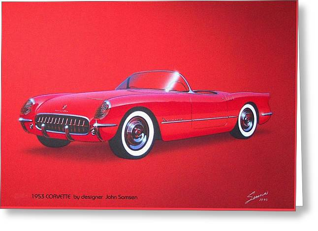 1953 Corvette Classic Vintage Sports Car Automotive Art Greeting Card