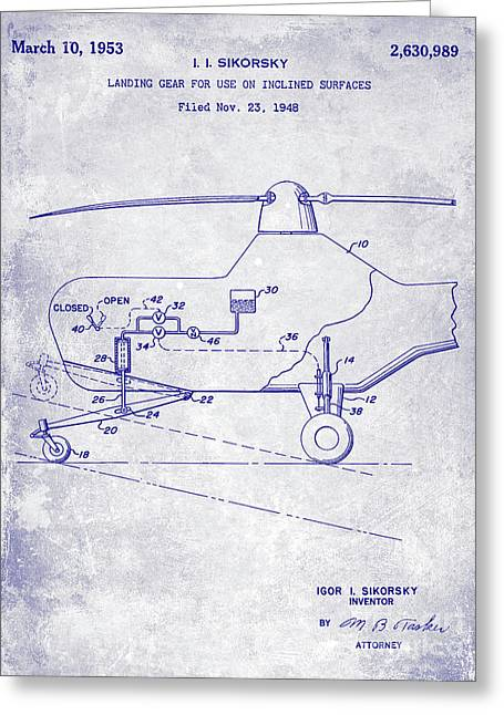 1953 Helicopter Patent Blueprint Greeting Card by Jon Neidert