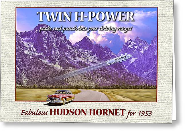 Greeting Card featuring the photograph 1953 Hudson Hornet Greeting Card by Ed Dooley