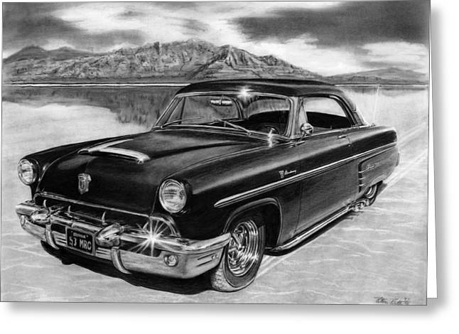 Charcoal Car Greeting Cards - 1953 Mercury Monterey on Bonneville Greeting Card by Peter Piatt