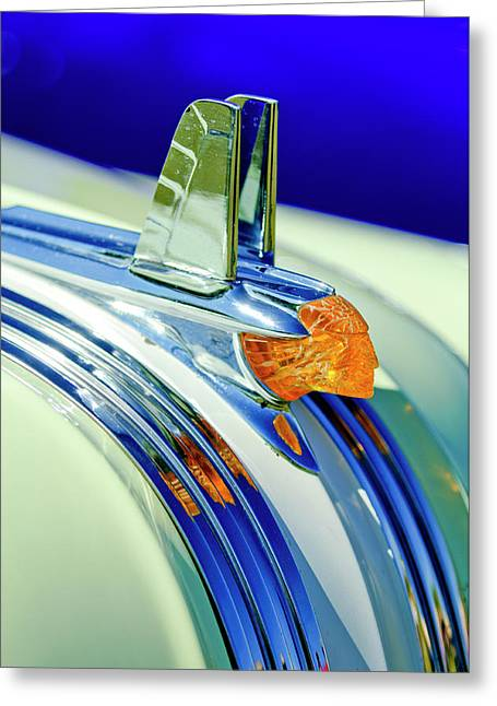 Vintage Hood Ornament Greeting Cards - 1953 Pontiac Hood Ornament 5 Greeting Card by Jill Reger