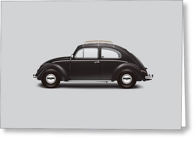 1953 Volkswagen Sedan - Black Greeting Card by Ed Jackson