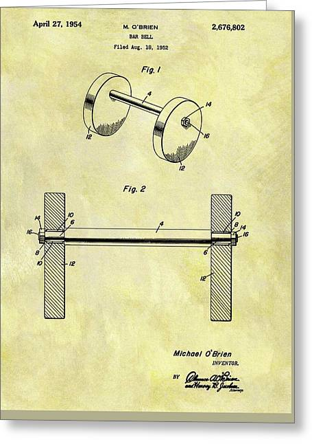 1954 Barbell Patent Greeting Card by Dan Sproul