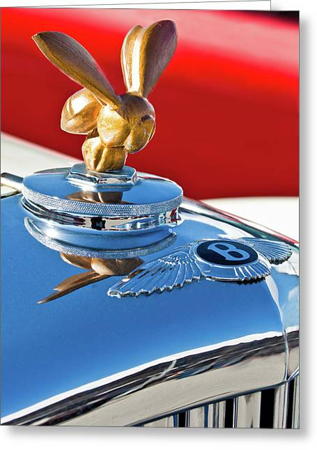 1954 Bentley One Of A Kind Hood Ornament Greeting Card by Jill Reger