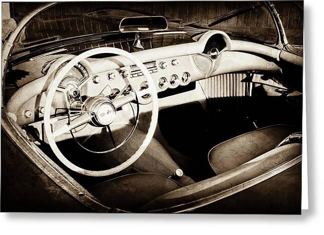 1954 Chevrolet Corvette Steering Wheel -442s Greeting Card by Jill Reger