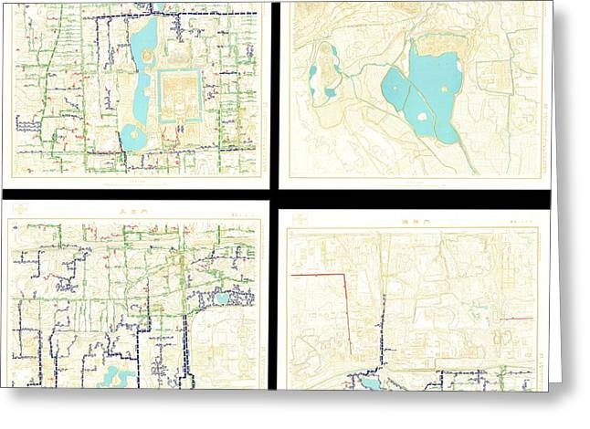 1954 Chinese Topographical Map Set Of Beijing China 45 Maps Greeting Card by Paul Fearn