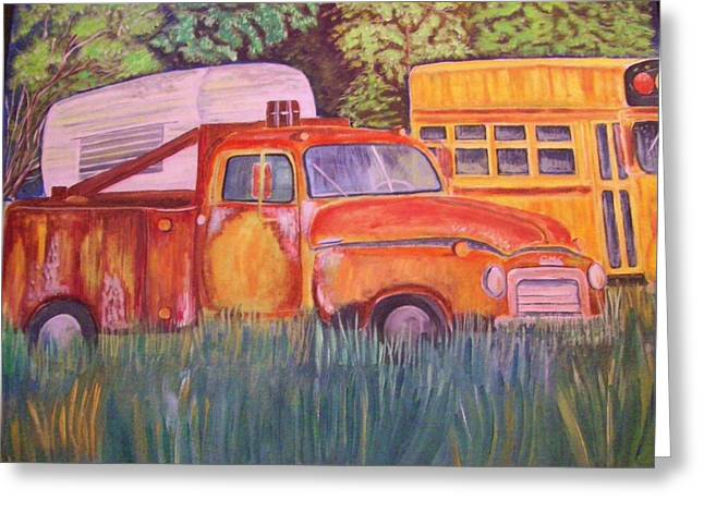 Greeting Card featuring the painting 1954 Gmc Wrecker Truck by Belinda Lawson