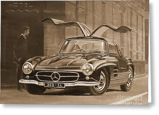 1954 Mercedes Benz 300 Sl  In Sepia Greeting Card