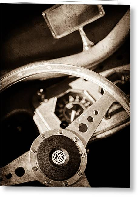 1954 Mg Tf Steering Wheel Emblem -0920s Greeting Card