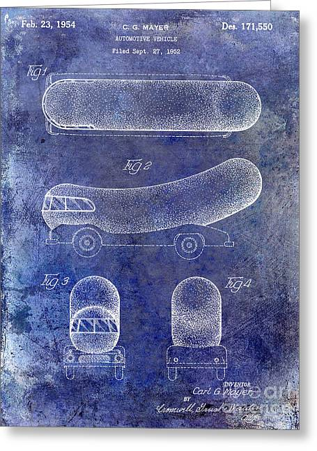 1954 Weiner Mobile Patent Blue Greeting Card by Jon Neidert
