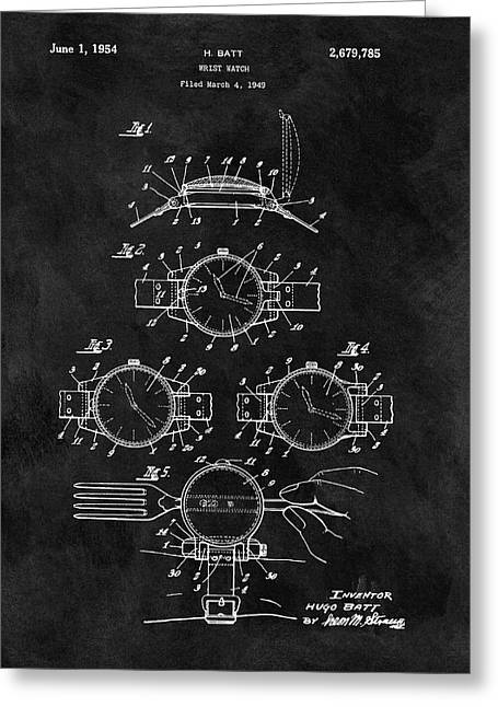 1954 Wrist Watch Patent Greeting Card by Dan Sproul