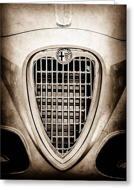 1955 Alfa Romeo 1900 Css Ghia Aigle Cabriolet Grille Emblem -0564s Greeting Card by Jill Reger
