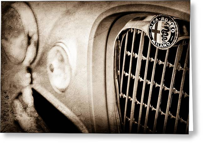 1955 Alfa Romeo 1900 Css Ghia Aigle Cabriolet Grille Emblem -0650s Greeting Card by Jill Reger