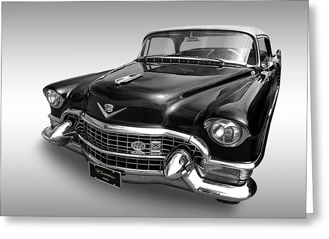 Greeting Card featuring the photograph 1955 Cadillac Black And White by Gill Billington