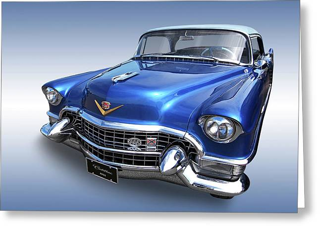 Greeting Card featuring the photograph 1955 Cadillac Blue by Gill Billington