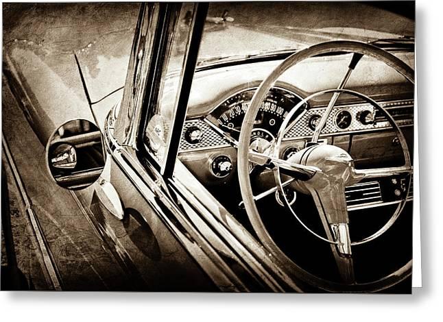 1955 Chevrolet Bel Air Steering Wheel -0263s Greeting Card by Jill Reger