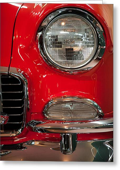 Belair Greeting Cards - 1955 Chevy Bel Air Headlight Greeting Card by Sebastian Musial