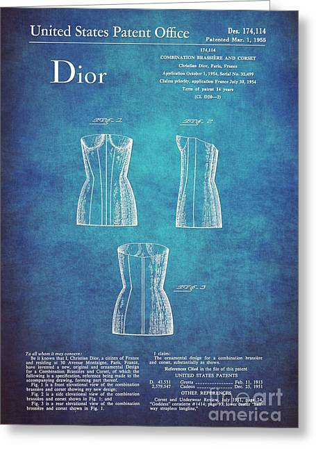 1955 Dior Combo Bra And Corset Design 1 Greeting Card by Nishanth Gopinathan