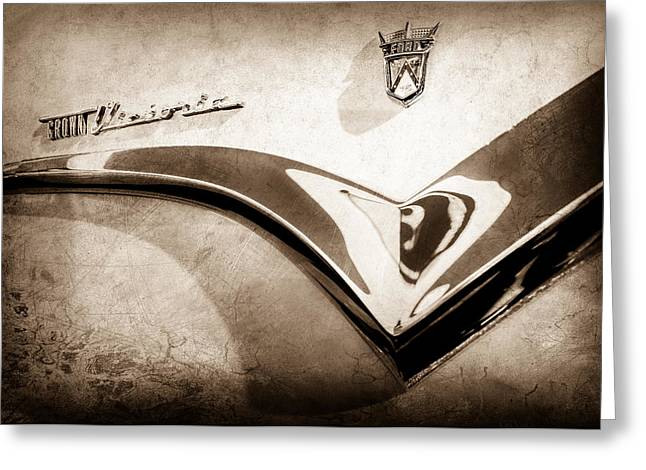 1955 Ford Fairlane Crown Victoria Emblem -0098s Greeting Card