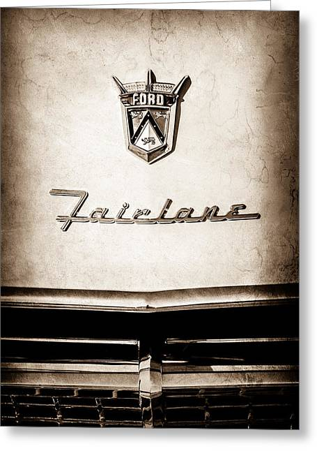 1955 Ford Fairlane Crown Victoria Emblem -1713s Greeting Card