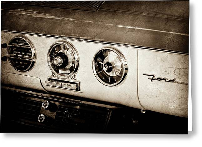 Greeting Card featuring the photograph 1955 Ford Fairlane Dashboard Emblem -0444s by Jill Reger