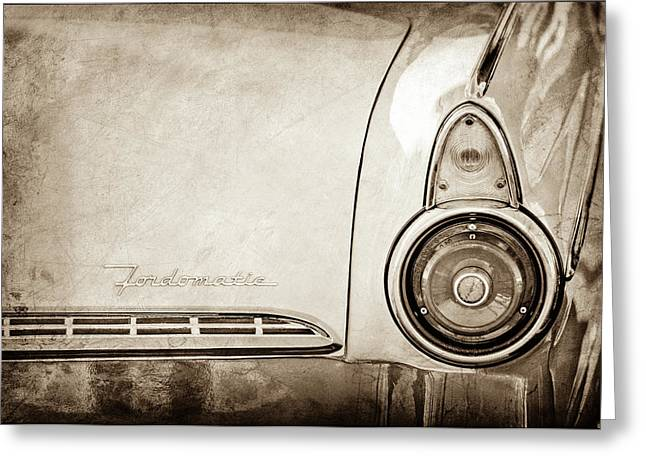 1955 Ford Fairlane Fordomatic Taillight Emblem -0419s Greeting Card by Jill Reger