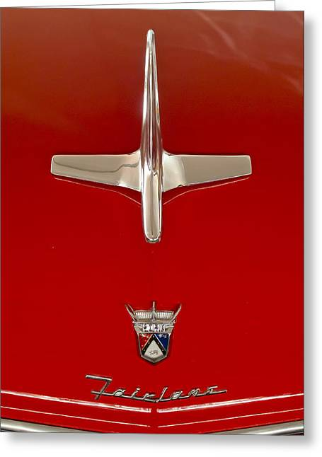 1955 Ford Fairlane Sunliner Convertible Hood Ornament Greeting Card by Jill Reger