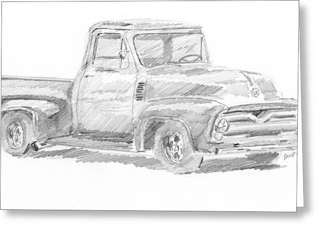 Greeting Card featuring the drawing 1955 Ford Pickup Sketch by David King