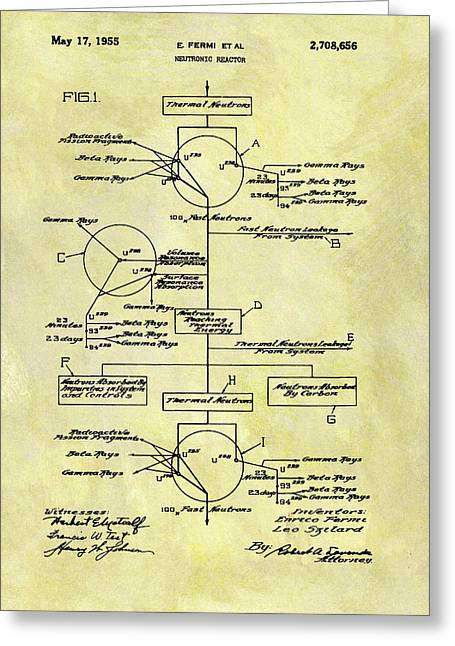 1955 Neutronic Reactor Patent Greeting Card by Dan Sproul