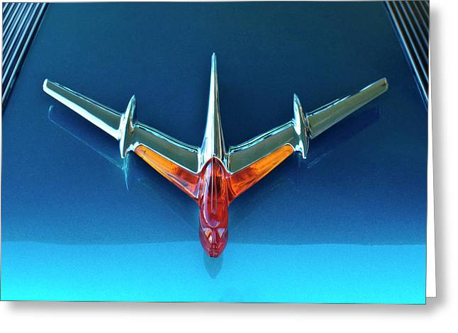 Car Mascot Greeting Cards - 1955 Pontiac Safari Hood Ornament 2 Greeting Card by Jill Reger