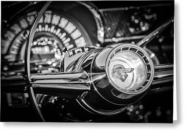 1955 Pontiac Star Chief Steering Wheel Emblem -0103bw Greeting Card