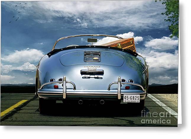 1955 Porsche, 356a, 1600 Speedster, Aquamarin Blue Metallic, Louis Vuitton Classic Steamer Trunk Greeting Card