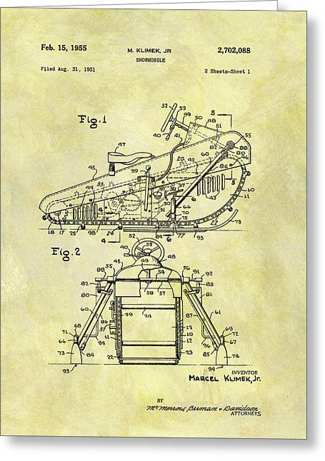 1955 Snowmobile Patent Greeting Card by Dan Sproul