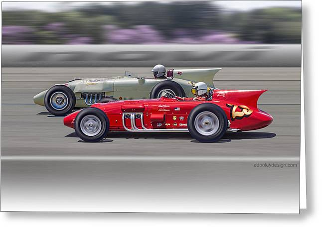Greeting Card featuring the photograph 1956-57 Novi Replica Roadsters by Ed Dooley