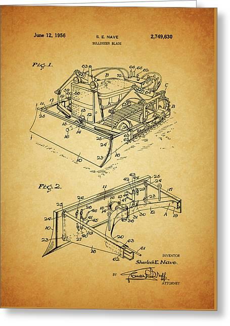 1956 Bulldozer Patent Greeting Card