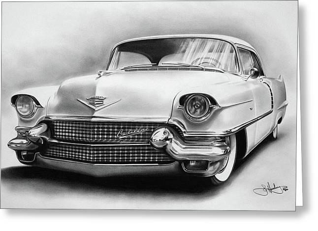 1956 Cadillac Drawing Greeting Card