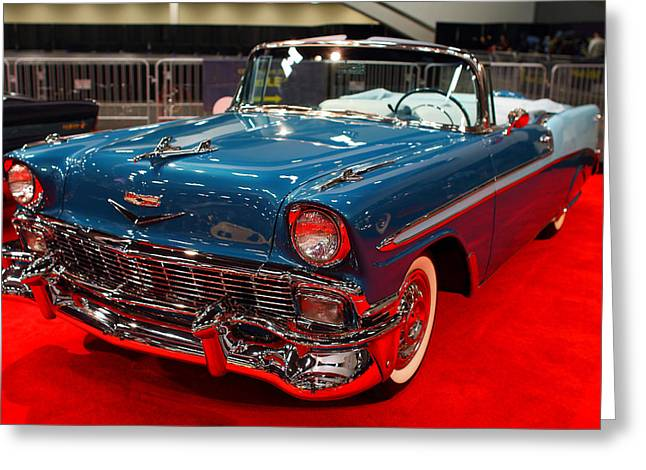 Domestic Cars Greeting Cards - 1956 Chevrolet Bel-Air Convertible . Blue . 7D9248 Greeting Card by Wingsdomain Art and Photography