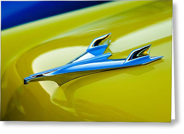 Car Mascot Greeting Cards - 1956 Chevrolet Hood Ornament Greeting Card by Jill Reger