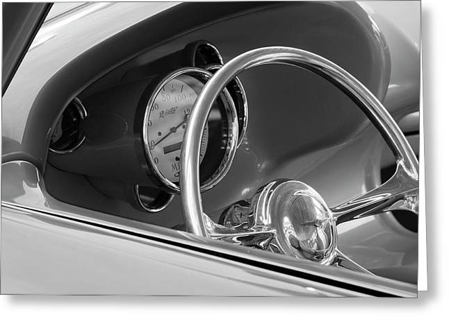 Wheels Greeting Cards - 1956 Chrysler Hot Rod Steering Wheel Greeting Card by Jill Reger